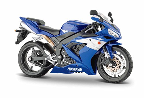 Maisto Yamaha YZF-R1: Originalgetreues Motorradmodell im Maßstab 1:12, mit Federung und extra Seitenständer, blau (531102)
