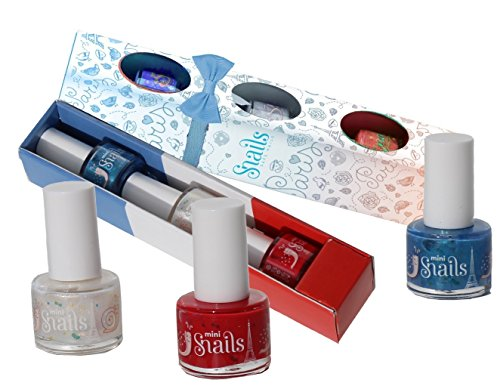 SNAILS 3 Mini Pack Paris Vernis à l'Eau Rouge Vif/Blanc Nacre/Bleu Lilas 7 ml