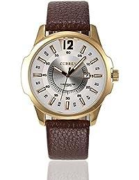 Correa de cuero del reloj cronógrafo de cuarzo para hombre Curren oro blanco marrón
