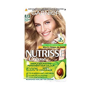 Garnier Nutrisse Creme Blonde Hair Dye Permanent, Up to 100 Percent Grey Hair Coverage, with NEW 5 Oils Conditioner - 8.13 Natural Medium Beige Blonde