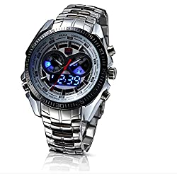 TVG Dichtungen Elite Herren Luminox Linsenteleskop (LED Doppel Display Luminous Bewegung 100 m wasserdicht Quarz Uhren, silber