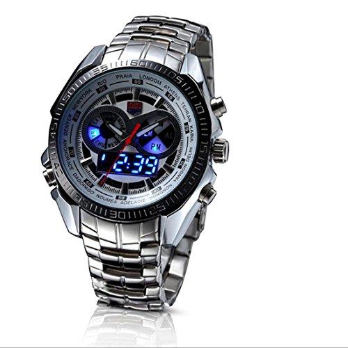 TVG seals elite men's Luminox Led double display luminous movement 100 meter waterproof quartz watches , silver