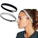 Asoofy 2 Stück dünne Rutschfeste Elastische Sport Stirnbänder für Frauen/Männer dünne Elastische Haarband (Schwarz & Beige)