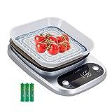 Báscula Digital de Cocina Cookmii Peso de Cocina 10 Kg/ 1 g, Acero Inoxidable, Pantalla LCD, Balanza de Cocina, Plata(Baterías Incluidas)