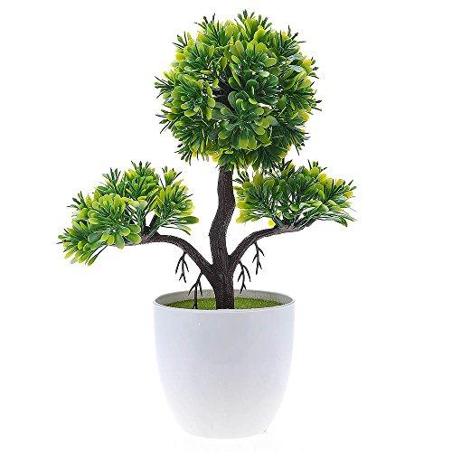 Kompassswc künstlicher bonsaibaum Kunstbonsai Kunstpflanzen MIT Töpfchen Zimmer Party Dekor Kunstbäume Topfpflanzen 26cm Höhe (Grün) - 3