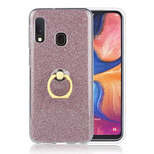 Hülle Glitzer Samsung Galaxy A20E Bumper Case Weiche TPU Abdeckung Glitzer Papier 2 in 1 Hybrid Hülle mit 360°drehbar Kickstand Finger Griff Halter Schutzhülle Tasche für Galaxy A20E - Roségold -