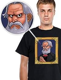 Digital Dudz Halloween T-Shirt Portrait bewegliche Augen schwarz bunt