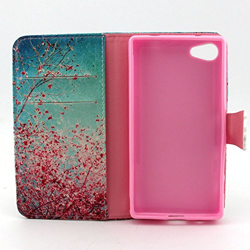 Custodia per Apple iPhone 5C,TOCASO Flip Case PU Pelle [Wallet Design] Caso per iPhone 5C Portafoglio Cover Ultra Sottile Leather Protettivo Cases Covers Shell ID Carta Slots Caso Guscio Copertura con Cherry Blossom