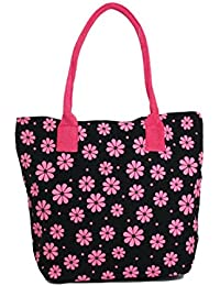 Casual Cotton Canvas Flower Print Women Girls Multipurpose Bag