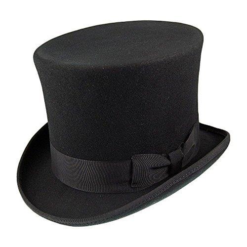 Cotswold Country Hats Schwarz Traditionell Wollfilz Top Hut Satin Gefüttert 'Landbekeidung' von S,M,L,XL (L - 59cm) - Top Hüte Männer