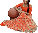 Cream & Orange Semi Stitched Lehenga