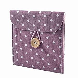 Woman Cotton Blends Dotted Sanitary Napkin Holder Bag Pouch White Light Purple