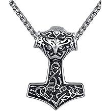 Aoiy - Collar con colgante de hombre de acero inoxidable, Martillo de Thor vikingo nudo celta, cadena de 61cm, aap170