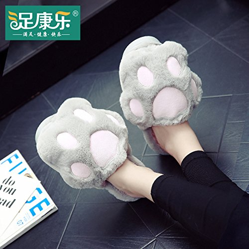 Cotone fankou pantofole inverno ladies home home interior scivoloso fondo spesso scarpe caldo carino scarpe di cotone con Stecker, blau
