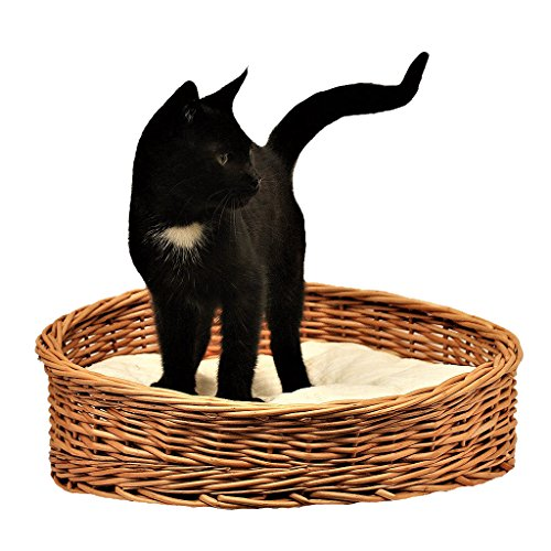 GalaDis 1-99 Kleiner Katzenkorb aus Weide/Katzenbett / Katzenkörbchen + 1 Kissen