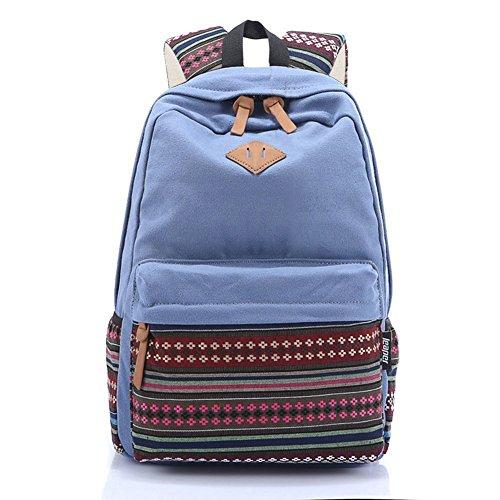 S-ZONE Damen Plaza Vintage Canvas Rucksack für Outdoor Camping Picknick Außenflug Sports Universität 14-15 Inch Laptop Schuletasche -