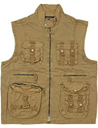 Mil-Tec Men's Vintage Survival Vest Prewashed Coyote
