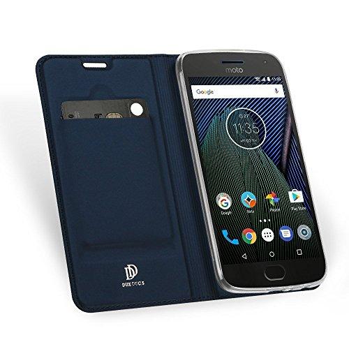 Lenovo Moto G5 Plus hülle, KuGi Lenovo Moto G5 Plus hülle / Fall - BW Stil Hochwertige ultradünne PU-Standplatz hülle für Lenovo Moto G5 Plus smartphone.(Blau) (Hinweis 4 Fall Mit Screen Protector)