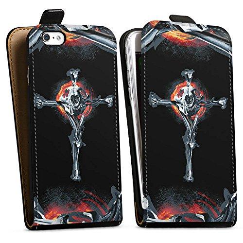 Apple iPhone X Silikon Hülle Case Schutzhülle Löwe Knochen Totenkopf Downflip Tasche schwarz