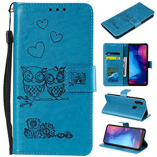 MOONESS Funda Xiaomi Redmi Note 7,Azul PU Cuero Flip Folio Multi-ángulo búho Carcasa [Magnético] [Soporte Plegable] [Ranuras para Tarjetas] para Xiaomi Redmi Note 7 (O-Azul)