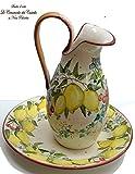 Set Piatto + Brocca - Linea fiori e frutta mista- Complemento d'arredo - Dipinto a mano - Le Ceramiche del Castello