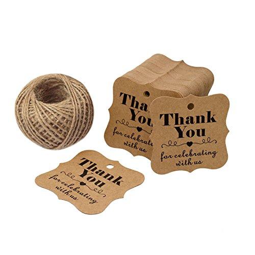 100pz etichetta di carta tag regalo di San Valentino, matrimonio, Thank You For Celebrating marrone da appendere tag con 30meters di iuta spago-6cm * 6cm