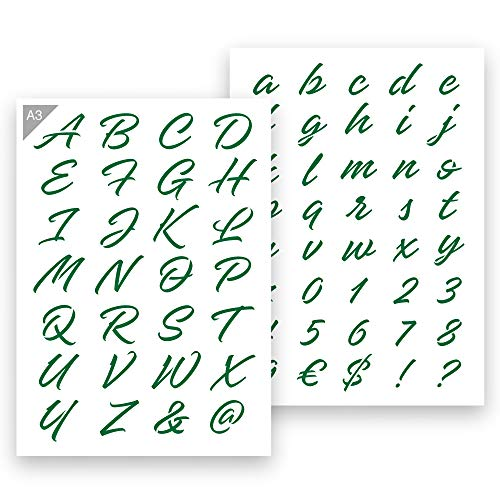 QBIX Buchstaben Schablone Dekorative Buchstaben - A3 Größe - Höhe Buchstaben 3-4 cm - wiederverwendbar, kinderfreundliche Schablone, DIY Schablonen-Kunst
