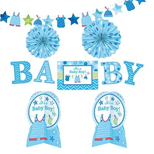 amscan 241491 Deko-Set Shower with Love, Boy, Amerikanische Größe (Baby Und Mami Kostüme)