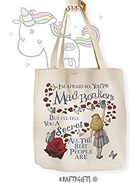Alice in Wonderland Bonkers Mad Hatter Canvas Tote Shopper Reusable Grocery Shoulder Bag AW01
