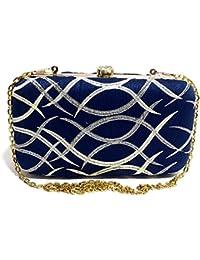 Arisha Kreation Co Blue Clutch Using Silk Fabric (Blue)