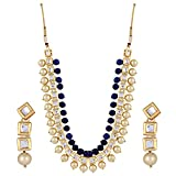 Shining Diva Fashion Jewelry Kundan Pearl Stylish Fancy Wedding Party Wear Jewellery Set/Traditional Necklace Set with Earrings for Women & Girls(Blue)(8645s)