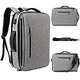 SLOTRA Laptop Aktentasche Laptop Rucksack 15,6 Zoll Multifunktions-Business-Rucksack mit USB-Ladeanschluss Laptop Messager Tasche Rucksack für die Arbeit College Grau