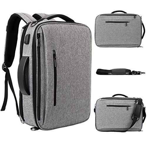 SLOTRA Zaino per laptop Laptop Zaino per laptop da 15.6 pollici convertibile multifunzione con porta di ricarica USB Zaino porta laptop per lavoro College Grigio