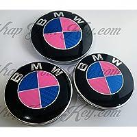 Blu e Rosa in fibra di carbonio BMW badge Emblem Overlay Hood tronco cerchioni Fits all BMW