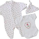BabyPrem Baby kleine Frühgeborene Kleidung 3-teiliges Geschenkset ROT ROSA P3