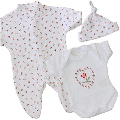 Premature Early Baby Girls Clothes 3 Piece Set - Sleepsuit, Bodysuit & Hat 1.5lb - 7.5lb ROSE P2