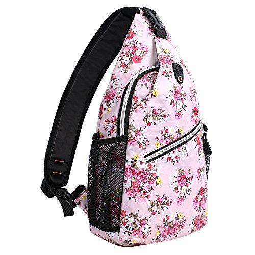 MOSISO Brusttasche Sling Rucksack Schultertasche, Polyester Crossbody Umhängetasche Sporttasche Kompatibel Herren Damen Mädchen Jungen, Rosa Basis Floral