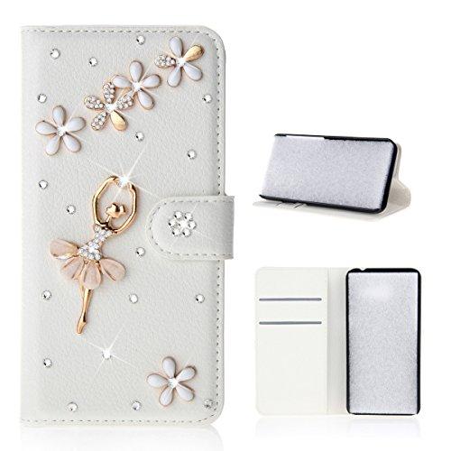 Meizu Pro 7 Hülle, PU-Leder Handytasche Brieftasche Shell Strass-Design Handyhülle Flip Stand Stoßfestes Telefon Folio Cover mit Magnetver schluss für Meizu Pro 7 (Dancing Girl)