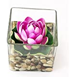 TiedRibbons Glass Vases Home Decoration Square Glass Vessel With Faux Lotus And Natural Stones Flower Vases With Artificial Flowers