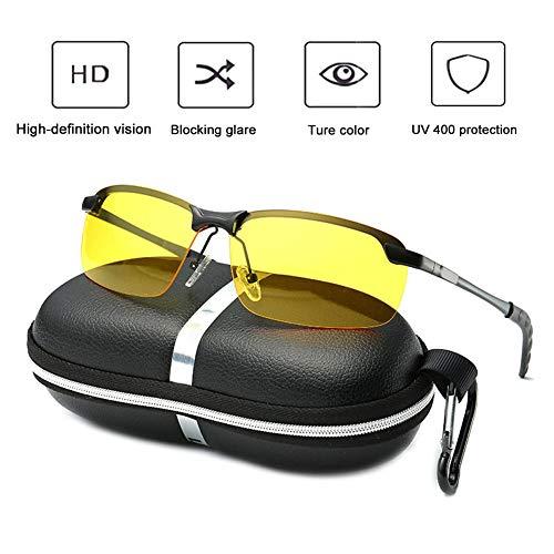 Nachtfahrbrille, HD Anti -Blende Nachtsichtbrille Risikominderung, UV400 Schutz, Reduzieren Sie Augenstrasse && Kopfschmerz für Outdoor Wayfarer, Fahren, Radfahren, Ski, Reiten (Polarisiertes Licht)