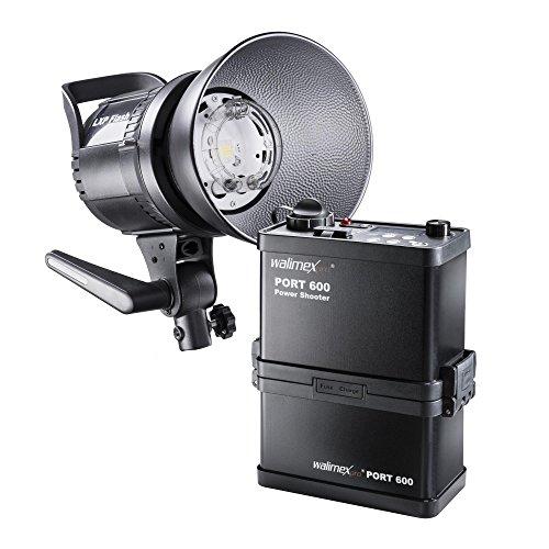 Walimex pro Power Shooter 600 Kofferset - Set aus LXP Blitz mit LED Einstelllicht, PowerShooter 600 mit Akku (8.000 mAh), Ladegerät und...