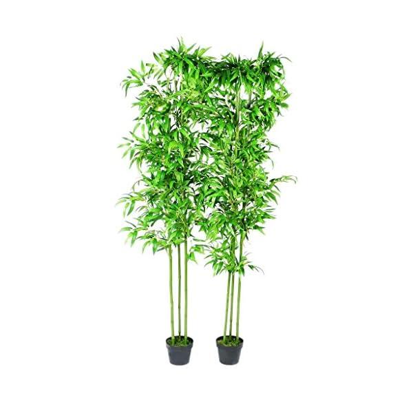 mewmewcat Set de 6 Planta De Bambú Artificial Cañas de Bambú Reales y Hojas Tejidas 190cm