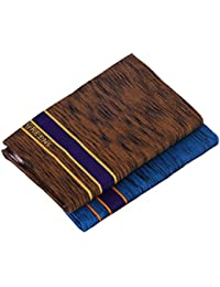Green Tee Men Coloured Dhoti - Pack of 2 (Brown ll Blue)