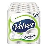 Velvet Comfort Toilet Roll Tissue Paper 45 Rolls  (Pack of 5 x 9)