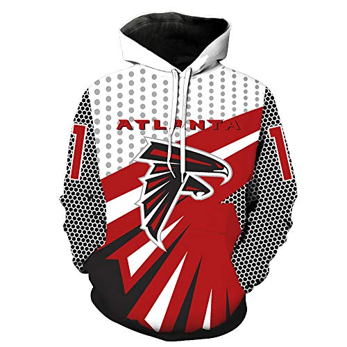 SZRXKJ Herren Hooded Langarm 3D Digitaldruck Atlanta Falcons Fußball Team Pullover Hoodies Kapuzenpullis(L,rot)