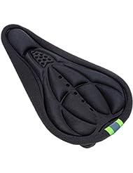 Sijueam® Housse de Selle vélo VTT Cyclisme 3D Gel Silicone Souple Couverture Protection Siège Antidérapant avec bande Lumière Réfléchissant - Noir