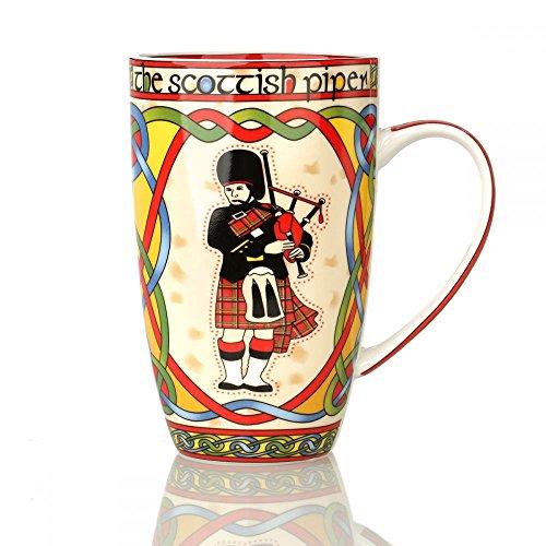 Eburya Scottish Piper Mug - Kaffeebecher aus Keramik mit schottischem Dudelsackbläser