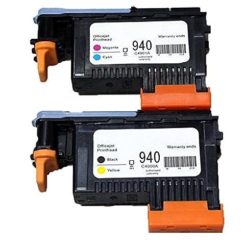 Caidi de remplacement Lot de 2HP 940Tête d'impression compatible pour HP Officejet Pro 80008500HP 940Tête d'impression C4900A C4901A pour HP Officejet Pro 800085008500A 8500A Plus 8500A Premium