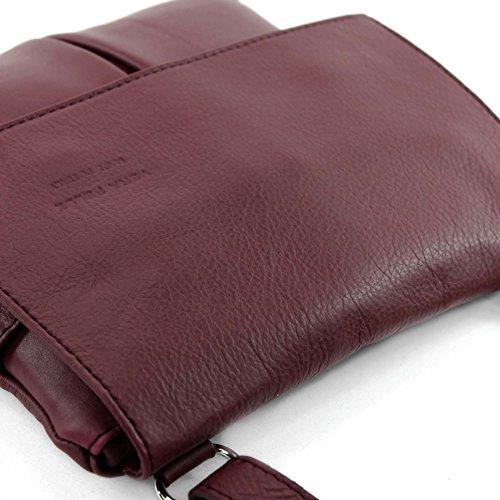 Sac à bandoulière italien Messenger sac à bandoulière femme cuir véritable T63 Weinrot