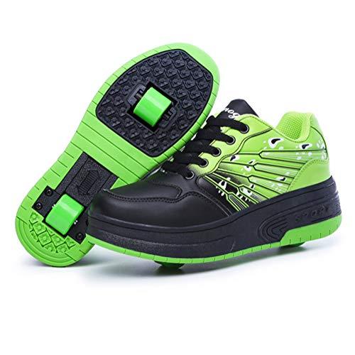 Scarpe per Pattini a rotelle per Bambini ultraleggere con/Singole Due Ruote Scarpe da Tennis Unisex Cuscinetti silenziosi Suole Resistenti all'Usura Stivali-Green-39